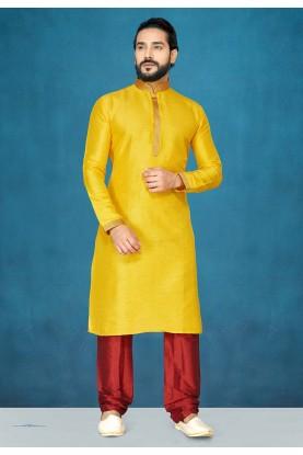 Yellow Colour Raw Silk Kurta Pajama.