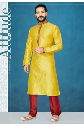 Indian Designer Kurta Pajama in Yellow Colour.