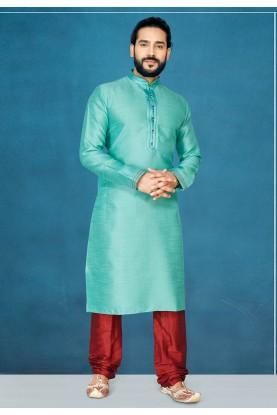 Green Colour Silk Kurta Pajama.