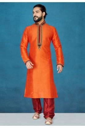 Orange Colour Indian Wedding Kurta Pajama.