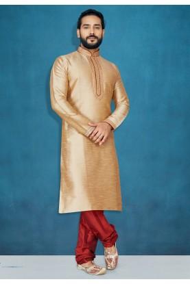 Beige Colour Men's Kurta Pajama.