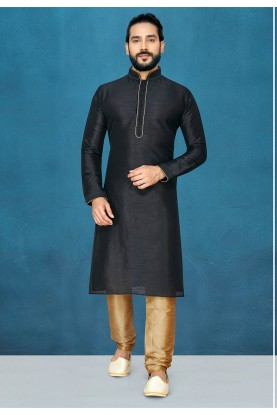 Party Wear Kurta Pajama in Black Colour.