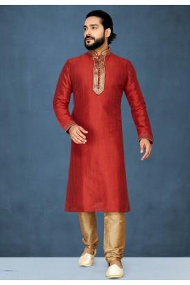Red Colour Silk Kurta Pajama.