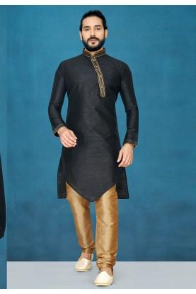 Black Colour Silk Designer Kurta Pajama.