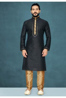 Black Colour Raw Silk Kurta Pajama.