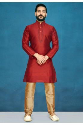 Maroon Colour Raw Silk Kurta Pajama.