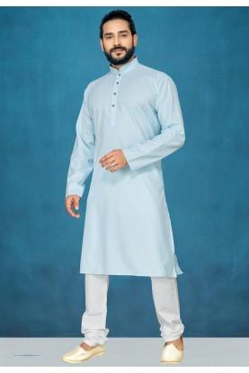 Sky Blue Colour Cotton Kurta Pajama.
