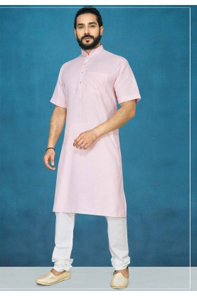 Pink Colour Regluar Wear Kurta Pajama.