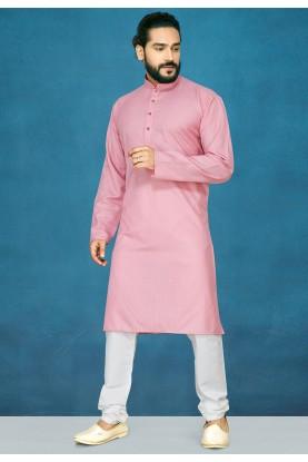 Light Pink Colour Cotton Kurta Pajama.