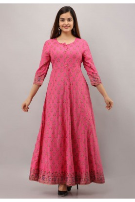 Pink Colour Rayon Cotton Readymade Gown.