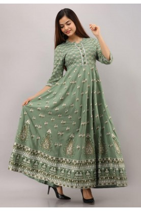 Green Colour Printed Readymade Gown.