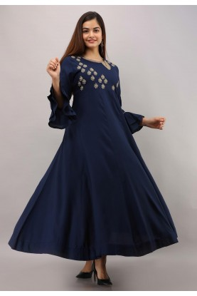 Blue Colour Indian Designer Gown.