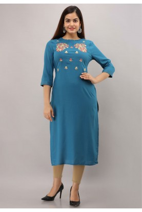 Blue Colour Designer Embroidery Kurti.