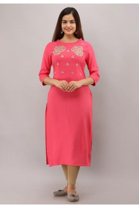 Rayon Cotton Pink Colour Readymade Kurti.