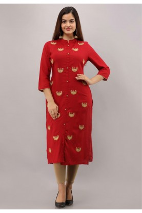 Embroidery Work Red Colour Designer Kurti.