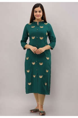 Indian Designer Kurti Green Colour.