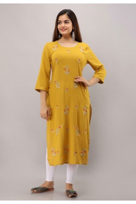 Designer Womens Kurti Yellow Colour.