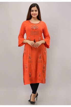 Orange Colour Embroidery Kurti.