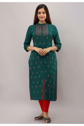 Rama Green Colour Designer Kurti.