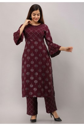 Purple Colour Printed Readymade Kurti.