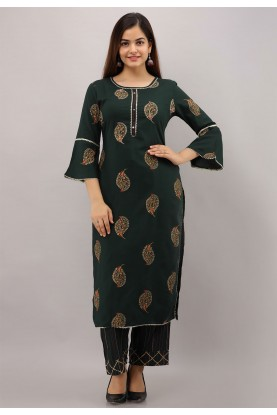 Bottle Green Colour Hand Work Party Wear Kurti.