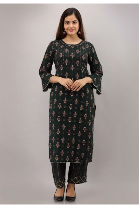 Black Colour Pants Style Readymade Kurti.