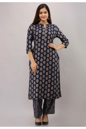 Dark Blue Colour Printed Designer Kurti.