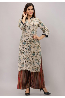 Beige Colour Rayon Cotton Fabric Readymade Kurti.