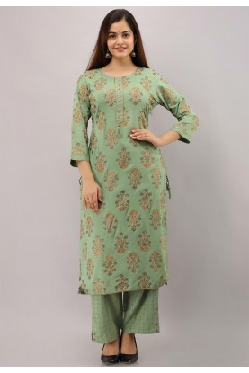 Green Colour Embroidered Kurti.