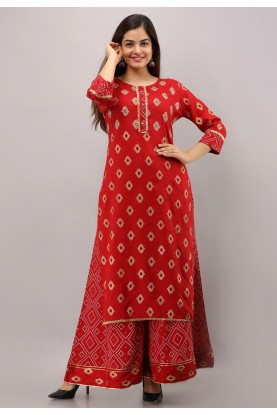 Red Colour Sharara Readymade Kurti.