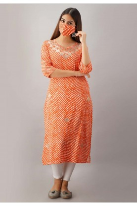Rayon Fabric Orange Colour Gota Patti Kurti.