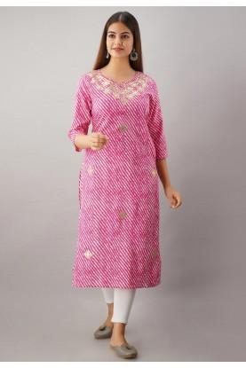 Pink Colour Gota Patti Work Lehariya Kurti.