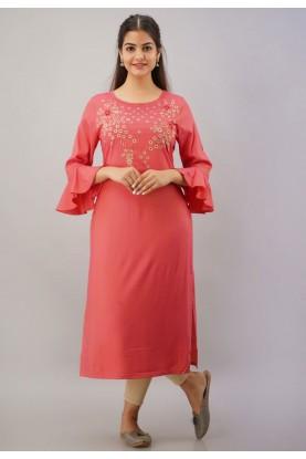 Pink Colour Rayon Fabric Readymade Kurti.