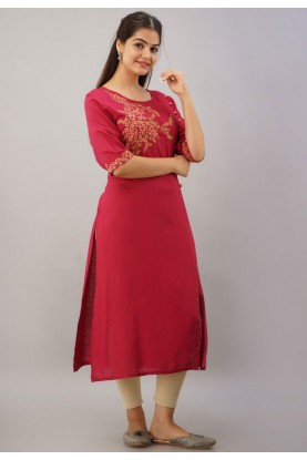 Red Colour Rayon Fabric Designer Readymade Kurti.