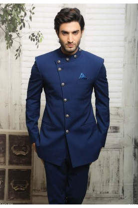 Unique Style Blue Color Traditional Jodhpuri Suits