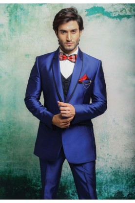 AUSPICIOUS LOOK BLUE COLOR TUXEDO SUIT