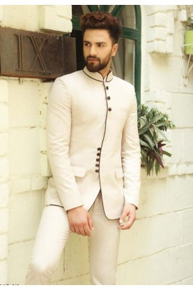 Off White Color Impressive Mens Jodhpuri Suits Online India