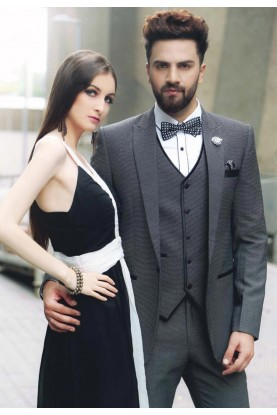GREY,BLACK COLOR DESIGNER TUXEDO SUIT IN ITALIAN FABRIC