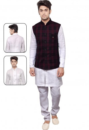 White,Maroon Color Designer Kurta Pyjama With Jacket