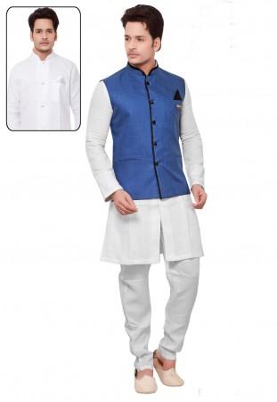 Men's Linen,Cotton Fabric White,Blue Color Readymade Kurta Pajama.