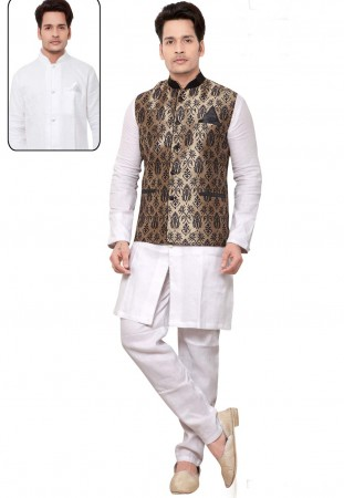 Exquisite Men's White,Beige Color Readymade Kurta Pajama With Jacket.