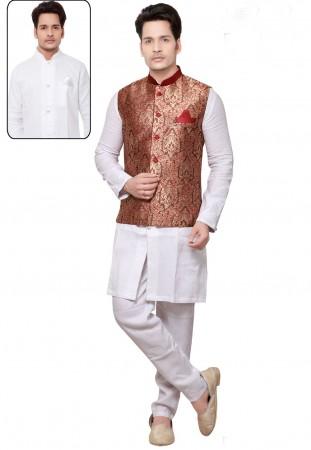 White,Maroon Color Readymade Kurta Pyjama With Jacket