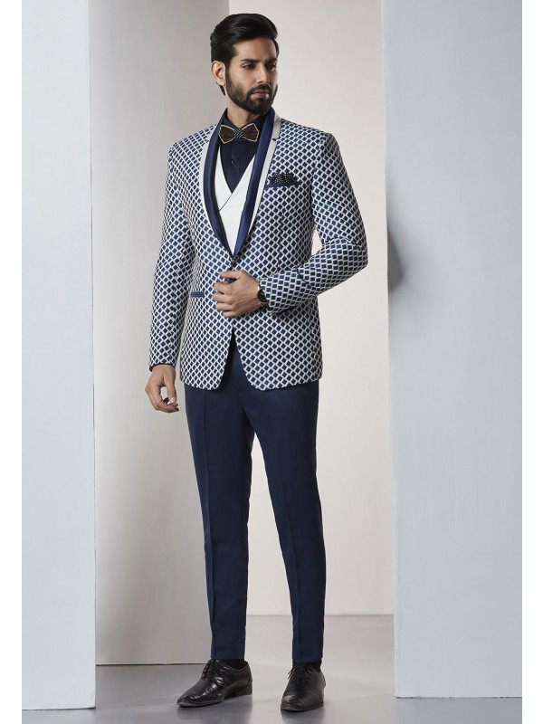 Blue,White Color Party Wear Tuxedo Suit.