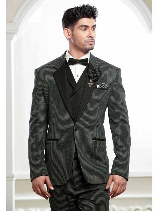 Black,Grey Colour Tuxedo Suit.