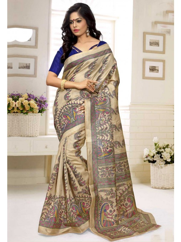 Printed Pallu Saree in Cream Color
