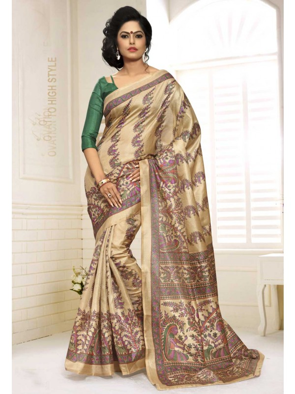Cream Color Saree With Attractive Printed Pallu