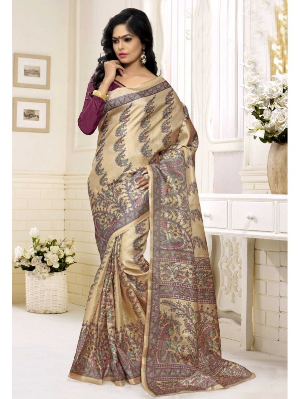 Cream Color Saree With Nice-looking Printed Pallu