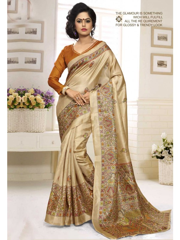 Classic Looking Khadi Silk & Cream Color Women's Ethnic Saree