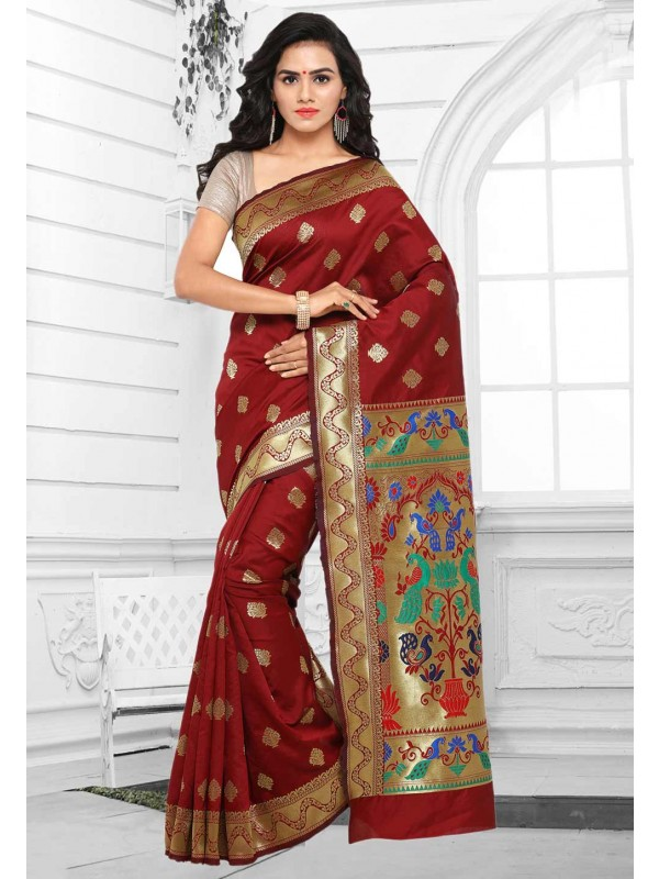 Attractive Looking Cotton Silk & Maroon Color Ethnic Saree