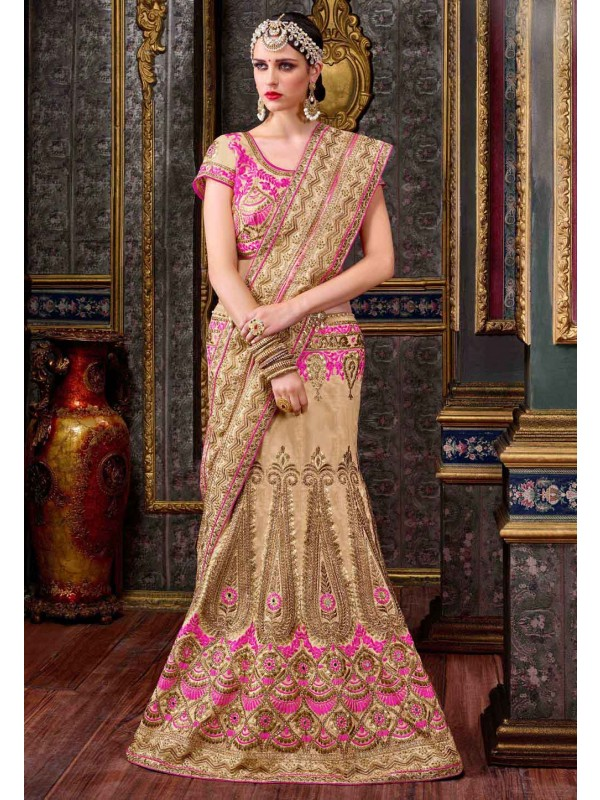 Pretty A Line Lehenga Style in Pink,Beige With Lace,Embroidery Work